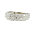 Men's Vintage Estate 14K White Gold Round Cut Diamond Ring Band - 0.23CTW