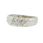 Men's Vintage Estate 14K White Gold Round Cut Diamond Ring Band - 0.23CTW
