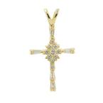 Vintage Classic Estate Ladies 14K Yellow Gold Diamond Cross Pendant - 0.27CTW