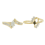 Estate Ladies 14K Yellow Gold Diamond Wedding Ring Two Piece Set - 0.75CTW