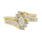 Estate Ladies 14K Yellow Gold Diamond Wedding Ring Two Piece Set - 0.75CTW