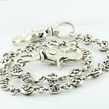 100% Authentic Chrome Hearts Wallet Chain Double Clips 925 Silver 25Inch 226GRM