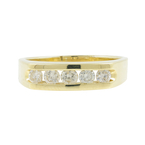 Vintage Estate Men's 14K Yellow Gold Chanel Set Diamond Ring Band - 0.75CTW