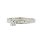 Vintage Estate Ladies 14K White Gold Diamond Solitaire Engagement Ring - 0.10CTW
