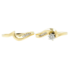 Vintage Classic Estate Ladies 14K Yellow Gold Diamond 2 Piece Ring Set - 0.25CTW
