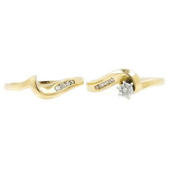 Vintage Classic Estate Ladies 14K Yellow Gold Diamond 2 Piece Ring Set - 0.25CTW