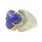 Gorgeous Vintage Classic Estate Ladies 14K Yellow Gold Lapis Lazuli Diamond Ring