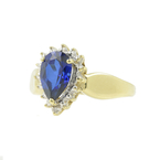 Vintage Classic Estate 10K Yellow Gold Sapphire Pear Cut Diamond Cocktail Ring