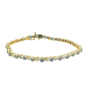 Estate Ladies 14K Yellow Gold Blue Topaz Diamond Tennis Bracelet - 2.05CTW