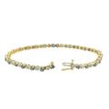 Estate Ladies 14K Yellow Gold Blue Topaz Diamond Tennis Bracelet - 2.05CTW