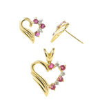 Vintage Estate 10K Yellow Gold Diamond  Spinel Heart  Pendant Earrings Jewelry Set