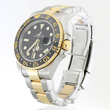 Authentic Mens Rolex Two Tone 18K Stainless Steel GMT Master ll Watch