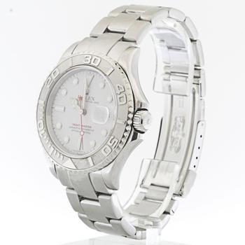 Authentic Mens Rolex Yacht-Master Platinum Bezel Stainless Steel Watch