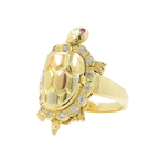 Vintage Estate 14K Yellow Gold Cubic Zirconia Moving Turtle Cocktail Ring