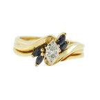 Vintage Estate Ladies 14K Yellow Gold Diamond Spinel Bypass Ring - 0.30CTW