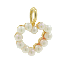 Vintage Classic Estate Ladies 14K Yellow Gold Seed Pearl Heart Pendant - 18MM