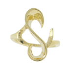 Vintage Classic Estate Ladies 14K Yellow Gold Free Form Open Heart Ring