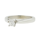 Vintage Estate 14K White Gold Princess Cut Diamond Engagement Ring - 0.20CTW