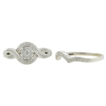 Vintage Estate Ladies 14K White Gold Diamond Wedding Ring Jewelry Set - 0.85CTW