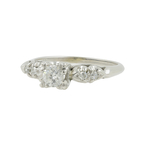 Vintage Estate 14K White Gold Ornate Diamond Solitaire Engagement Ring - 0.33CTW