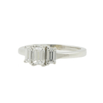 Estate White Gold 14K Three Stone Emerald Cut Diamond Engagement Ring - 1.02CTW