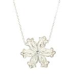 Ladies Vintage Estate 925 Sterling Silver Flower Pendant & Cable Chain Necklace - 23mm
