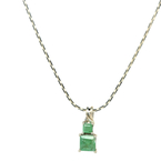 Estate 925 Sterling Silver Synthetic Green Emerald 13mm Pendant & Chain Necklace