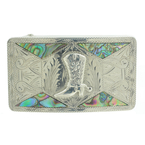 Men's Rare Vintage Classic Estate 925 Silver Abalone Cowboy Boot Belt Buckle