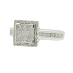 Classic Estate 10K White Gold Princess Cut Diamond 1.04CTW Engagement Ring