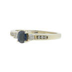 Ladies Classic Estate 14K White Gold Blue Sapphire Diamond 0.75CTW Ring