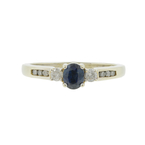 Ladies Vintage Estate 14K White Gold Blue Sapphire Diamond Ring - 0.75CTW