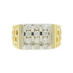 Mens Classic Estate 14K Yellow Gold Diamond 0.84CTW Greek Key Ring Size 7.5