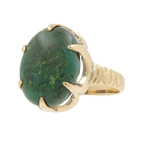 Vintage Estate 10K Yellow Gold Green Cabochon Cocktail Right Hand Ring
