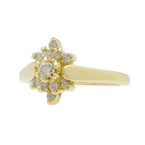 Vintage Classic Estate Ladies 14K Yellow Gold Diamond 0.30CTW Cluster Ring