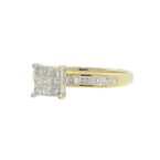 Estate Ladies 14k Yellow Gold Princess Cut Diamond 0.42CTW Engagement Ring