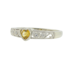 Charming Ladies 10K White Gold Citrine Diamond Heart Promise Ring Band