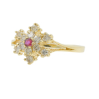 Vintage Classic Estate Ladies 14K Yellow Gold Diamond Ruby Gemstone Cluster Ring
