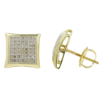 Classic Estate 10K Yellow Gold Pave Set Diamond 0.65CTW Studs Screw Back Earrings