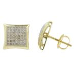 Classic Estate 10K Yellow Gold Pave Set Diamond 0.65CTW Studs Screw Back Earrings