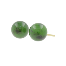 Vintage Classic Estate 14K Yellow Gold Green 8.2MM Push Back Earrings Studs