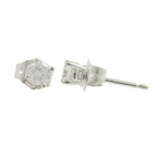 Vintage Estate Classic 14K White Gold Diamond Stud Push Back Earrings - 0.30CTW
