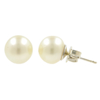 Classic Estate 14K White Gold 8.7MM Cultured Pearl Stud Push Back Earrings