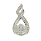 Vintage Estate Ladies 10K White Gold Diamond Cluster Tear Drop Pendant - 1.25CTW