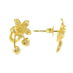 Ladies Vintage Classic Estate 18K Yellow Gold Flower-Shaped Push Back Earrings