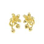 Classic Estate Ladies Vintage 18K Yellow Gold Flower Push Back Earrings