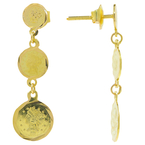 Estate Vintage Ladies 18K Yellow Gold Coin Dangle 35MM Earrings