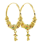 Lustrous Ladies Vintage Estate 22K Yellow Gold Endless Clasp Hoop Earrings