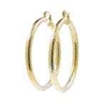 Vintage Estate Ladies 10K Tricolor Yellow White Rose Gold 55MM Hoop Earrings