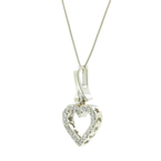 Charming Modern Ladies 14K White Gold Round Diamond Heart Drop Pendant Necklace