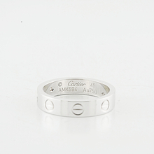 Cartier Love Mini 1 Diamond 18k White Gold 4mm Ring Band Size 49 U.S Size 4.75
